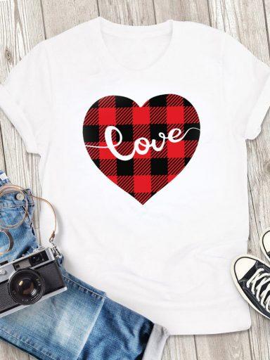 T-shirt męski biały Serce w kratę Love&Live (zdjęcie 3)