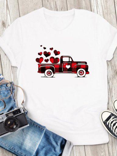 T-shirt męski biały Big Love Car Love&Live (zdjęcie 3)