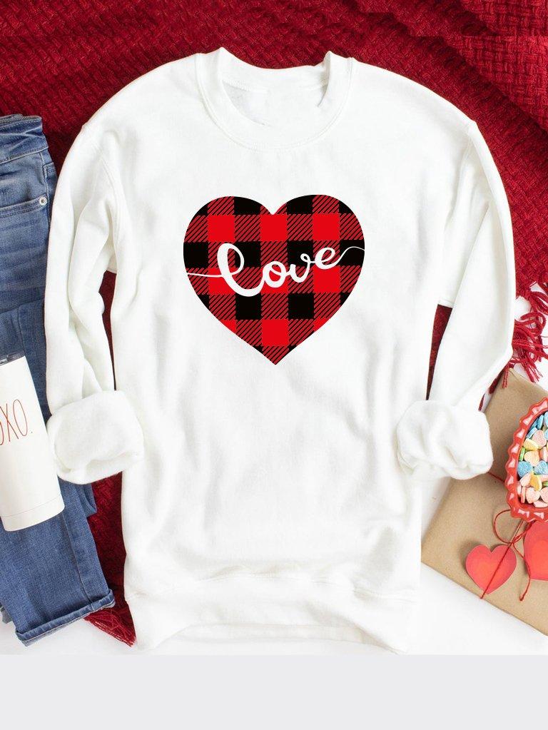 Bluza w kolorze białym Serce w kratę Love&Live