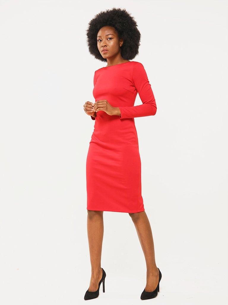 Sukienka w kolorze czerwonym z odkrytymi plecami Katarina Ivanenko (zdjęcie 3)