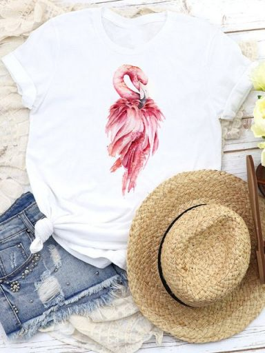 T-shirt biały Beautiful flamingo Katarina Ivanenko