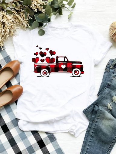 T-shirt biały Big Love Car Love&Live (zdjęcie 2)