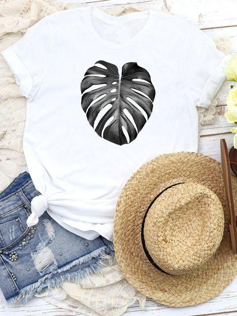 T-shirt biały Gray leaf Katarina Ivanenko