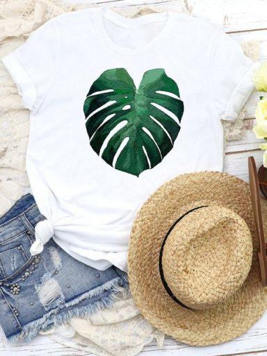 T-shirt biały Green leaf Katarina Ivanenko