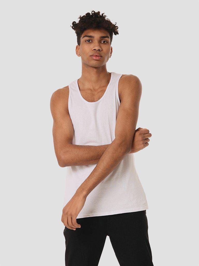 Biała koszulka męska bez rękawów Love&Live