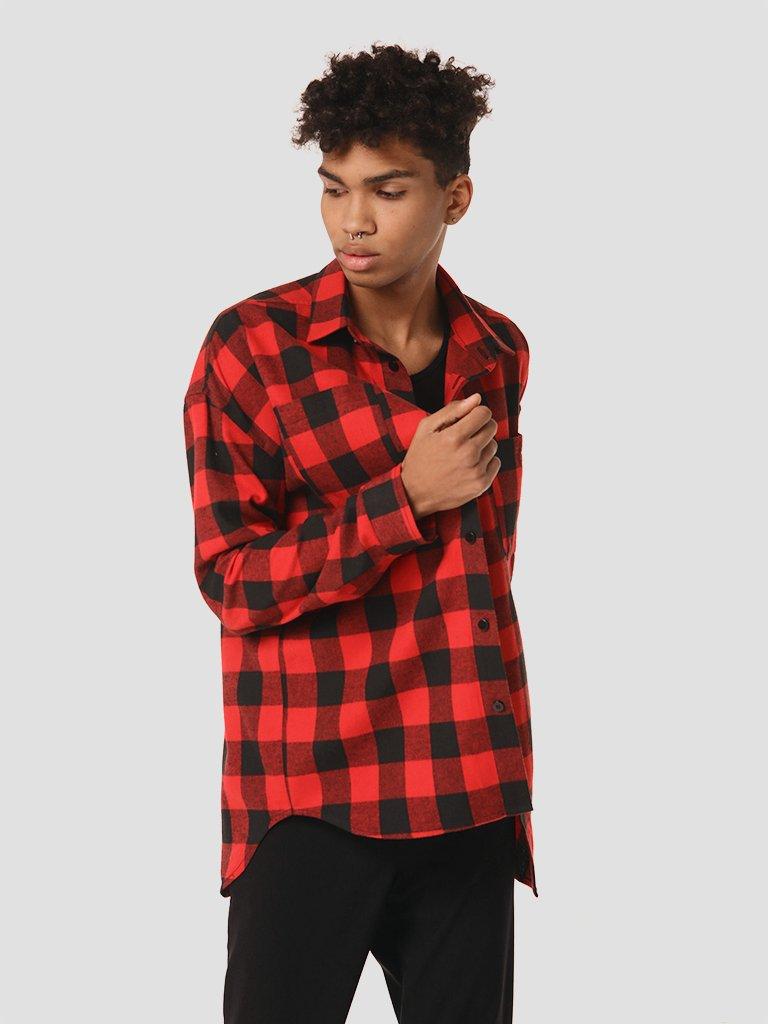 Koszula czarno-czerwona męska w kratę LOVE&LIVE