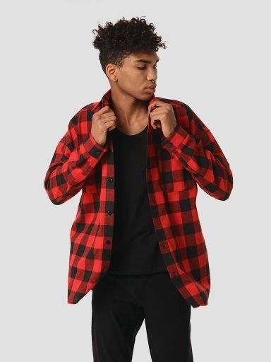 Koszula czarno-czerwona męska w kratę LOVE&LIVE (zdjęcie 10)