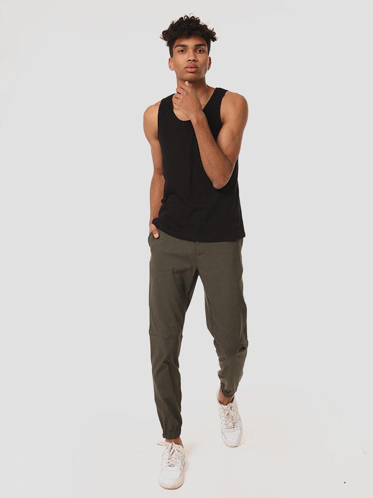 Męskie spodnie dresowe w kolorze khaki Love&Live (zdjęcie 3)