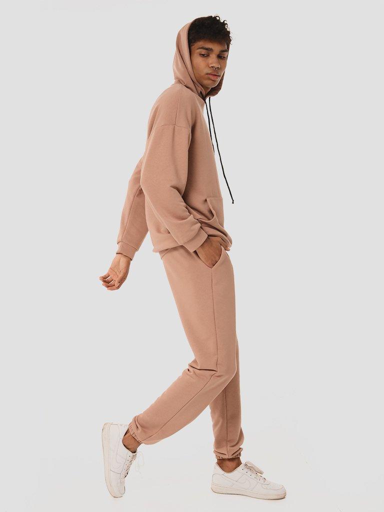 Zestaw dresowy męski w kolorze ciemno-beżowym (bluza, spodnie) Love&Live
