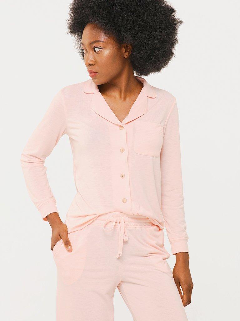 Zestaw domowy w kolorze pudrowym (koszula, spodnie) Love&Live (zdjęcie 4)
