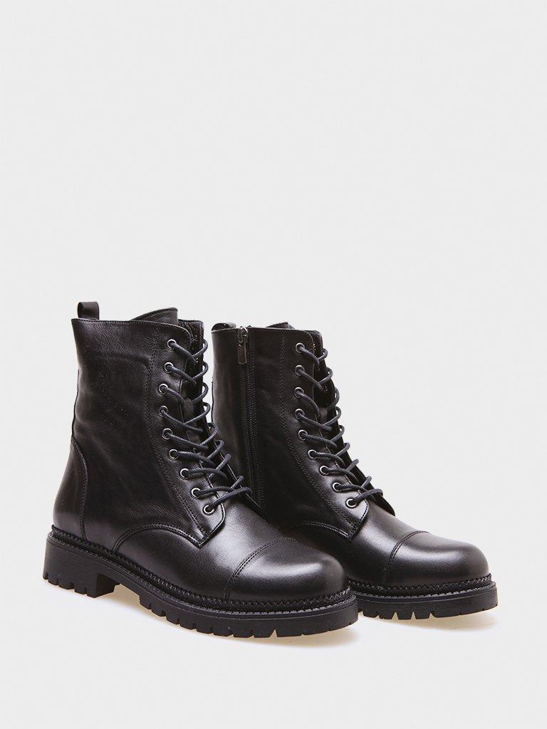 Сzarne skórzane buty ze sznurowadłami Love&Live (zdjęcie 3)