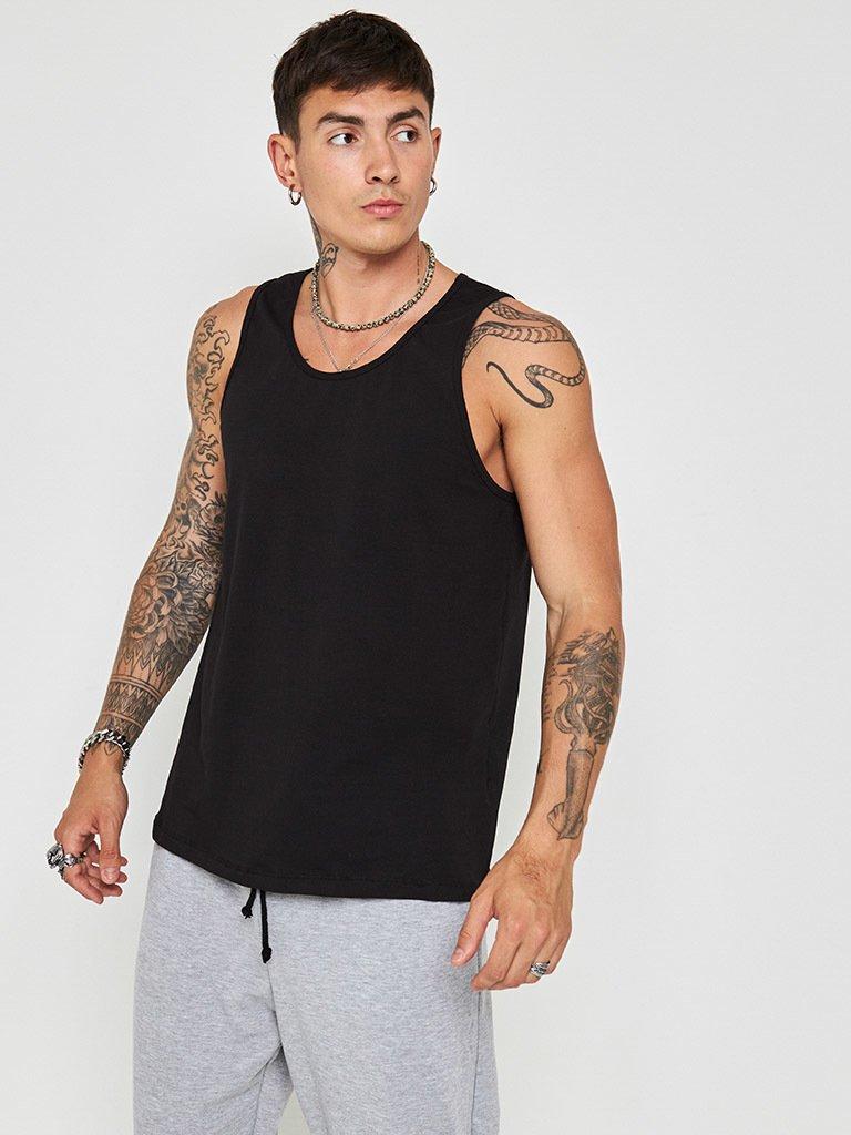 Czarna koszulka męska bez rękawów Love&Live