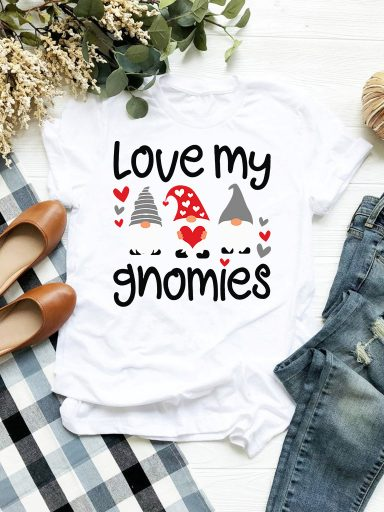 T-shirt biały Love My Gnomies Love&Live