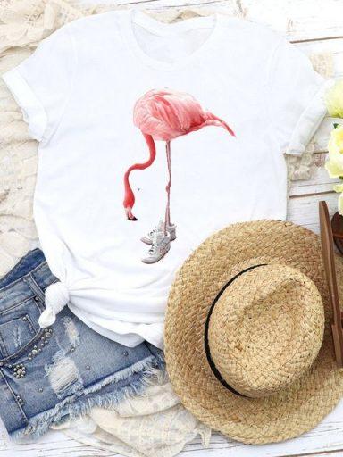 T-shirt biały Pink flamingo Katarina Ivanenko