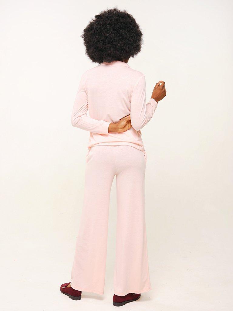 Zestaw domowy w kolorze pudrowym (koszula, spodnie) Love&Live (zdjęcie 3)