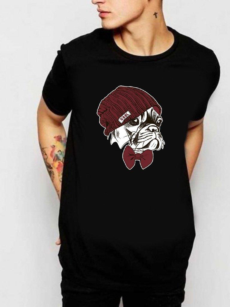 T-shirt męski czarny Fajny Mops Love&Live