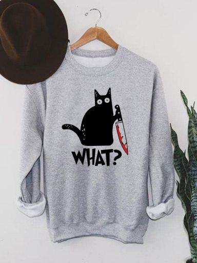 """Bluza męska w kolorze szarym Cat Says """"What?"""" Love&Live"""