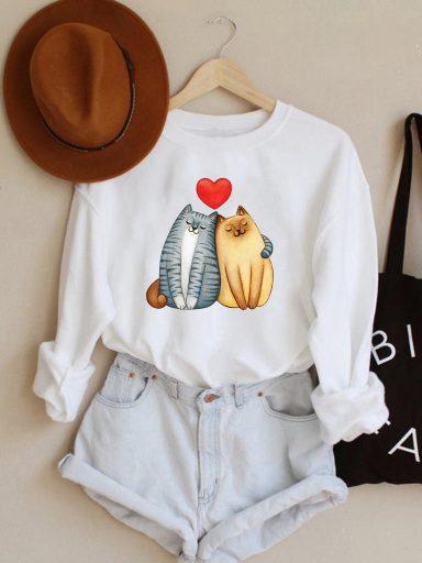 Bluza w kolorze białym Cat Love Love&Live