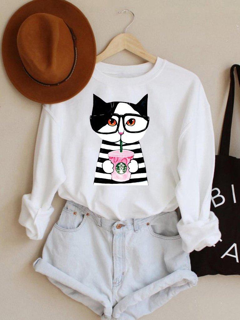 Bluza w kolorze białym Catbucks Love&Live