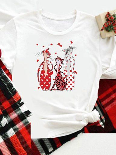 T-shirt biały dla dzieci Love My Cats Love&Live