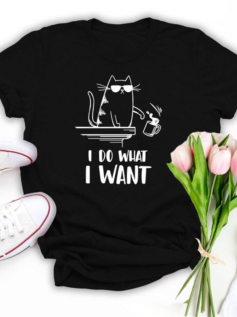 T-shirt czarny I Do What I Want Katarina Ivanenko