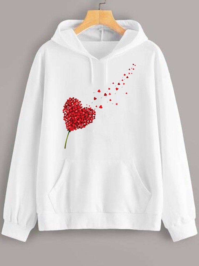 Bluza z kapturem w kolorze białym Miłość Wisi W Powietrzu Love&Live