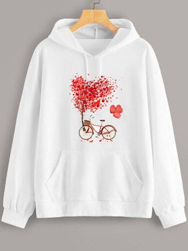 Bluza z kapturem w kolorze białym Drzewo Miłości Love&Live