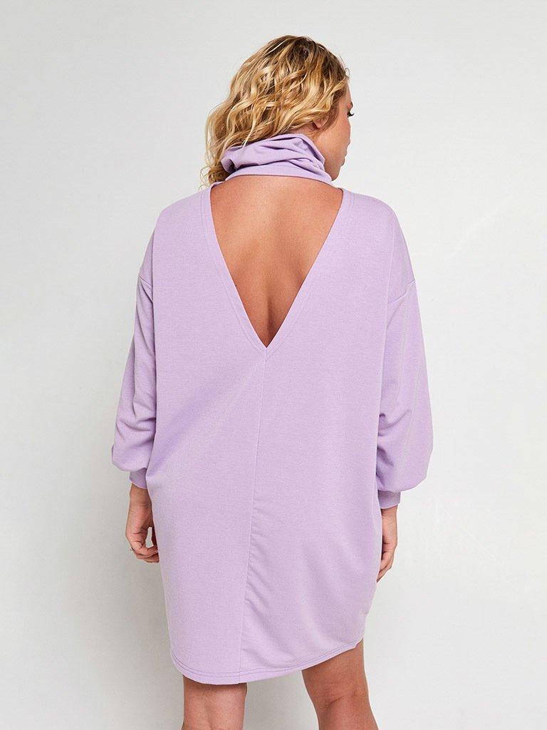 Fioletowa sukienka mini z odkrytymi plecami Katarina Ivanenko