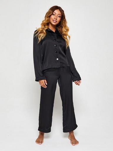 Jedwabna piżama w kolorze czarnym (koszula i spodnie) PURE
