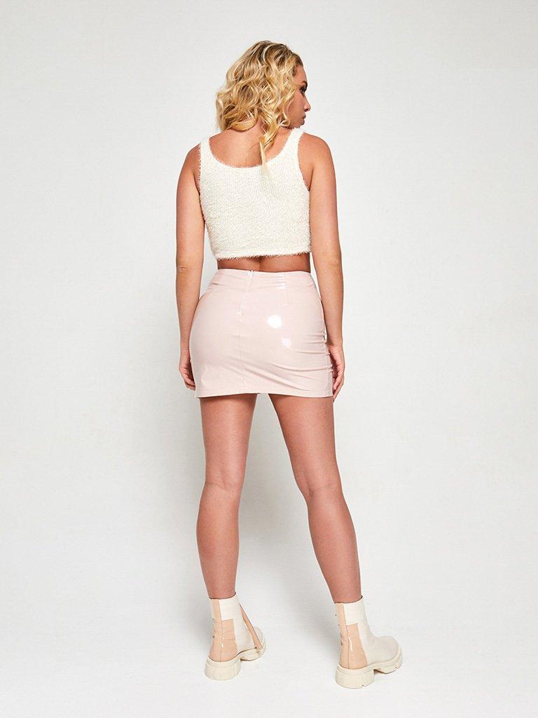 Spódnica mini winylowa w kolorze pudrowym Love&Live