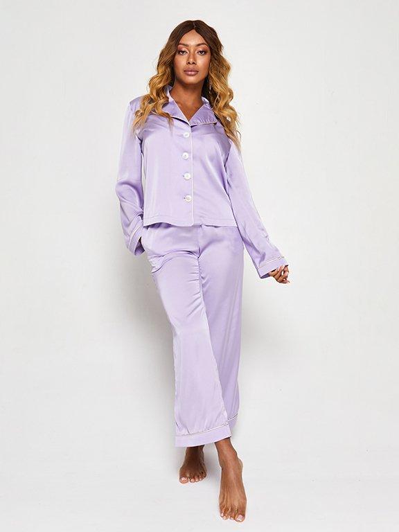 Jedwabna piżama w kolorze fioletowym (koszula i spodnie) PURE (zdjęcie 3)