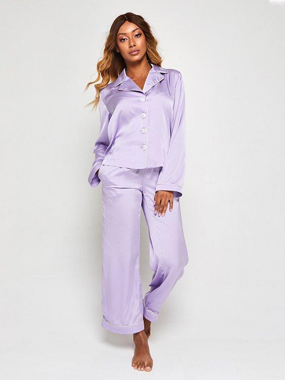 Jedwabna piżama w kolorze fioletowym (koszula i spodnie) PURE