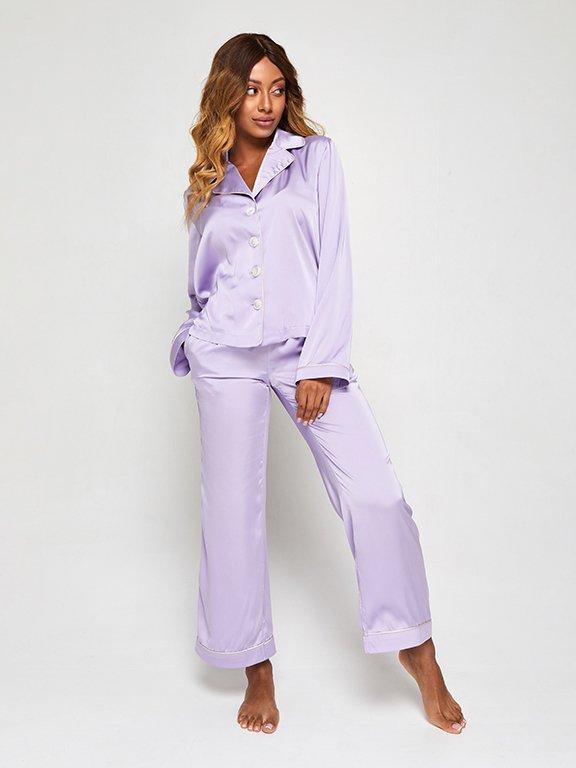 Jedwabna piżama w kolorze fioletowym (koszula i spodnie) PURE (zdjęcie 2)