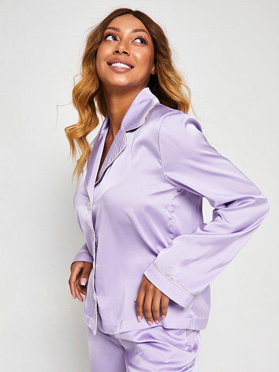 Jedwabna piżama w kolorze fioletowym (koszula i spodnie) PURE (zdjęcie 4)