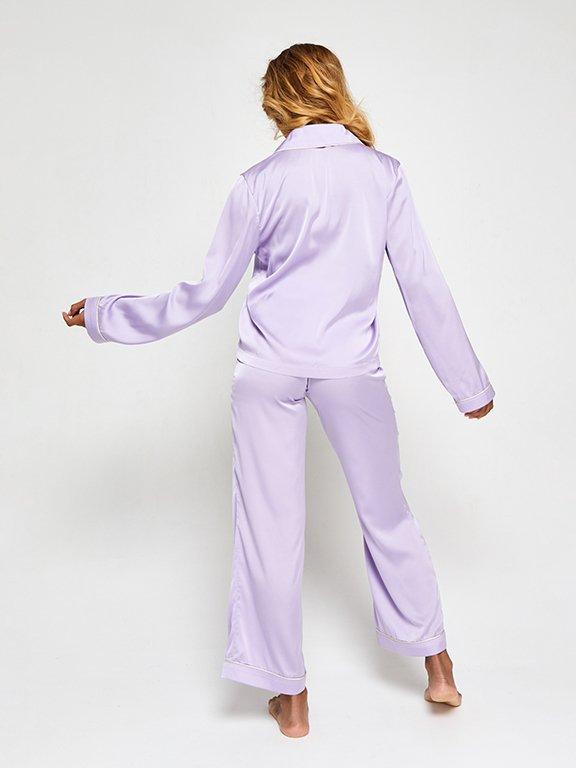 Jedwabna piżama w kolorze fioletowym (koszula i spodnie) PURE (zdjęcie 5)