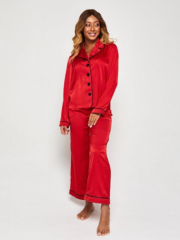 Jedwabna piżama w kolorze czerwonym (koszula i spodnie) PURE