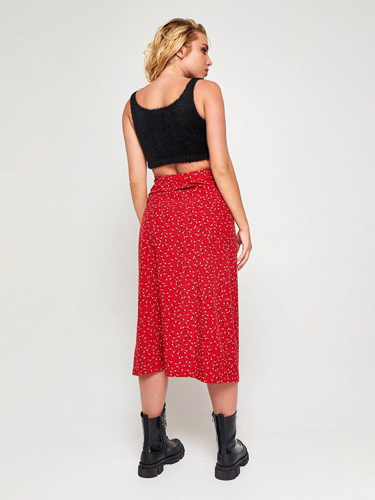 Spódnica midi czerwona w kwiatowy nadruk z rozcięciem na guziki Love&Live (zdjęcie 5)