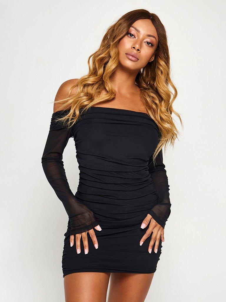 Sukienka w kolorze czarnym z siateczką i odkrytymi plecami Love&Live