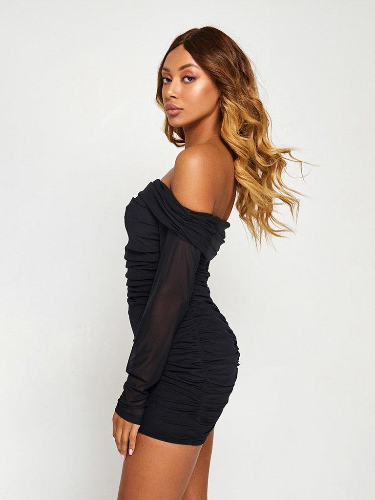 Sukienka w kolorze czarnym z siateczką i odkrytymi plecami Love&Live (zdjęcie 2)