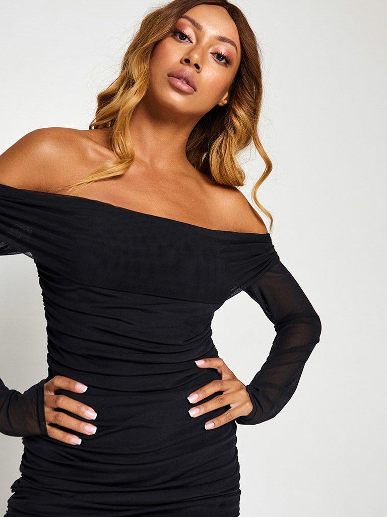 Sukienka w kolorze czarnym z siateczką i odkrytymi plecami Love&Live (zdjęcie 6)