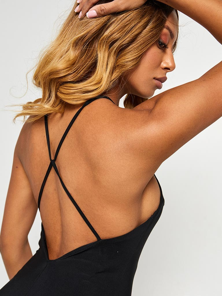 Sukienka mini neonowa czarna z odkrytymi plecami Katarina Ivanenko