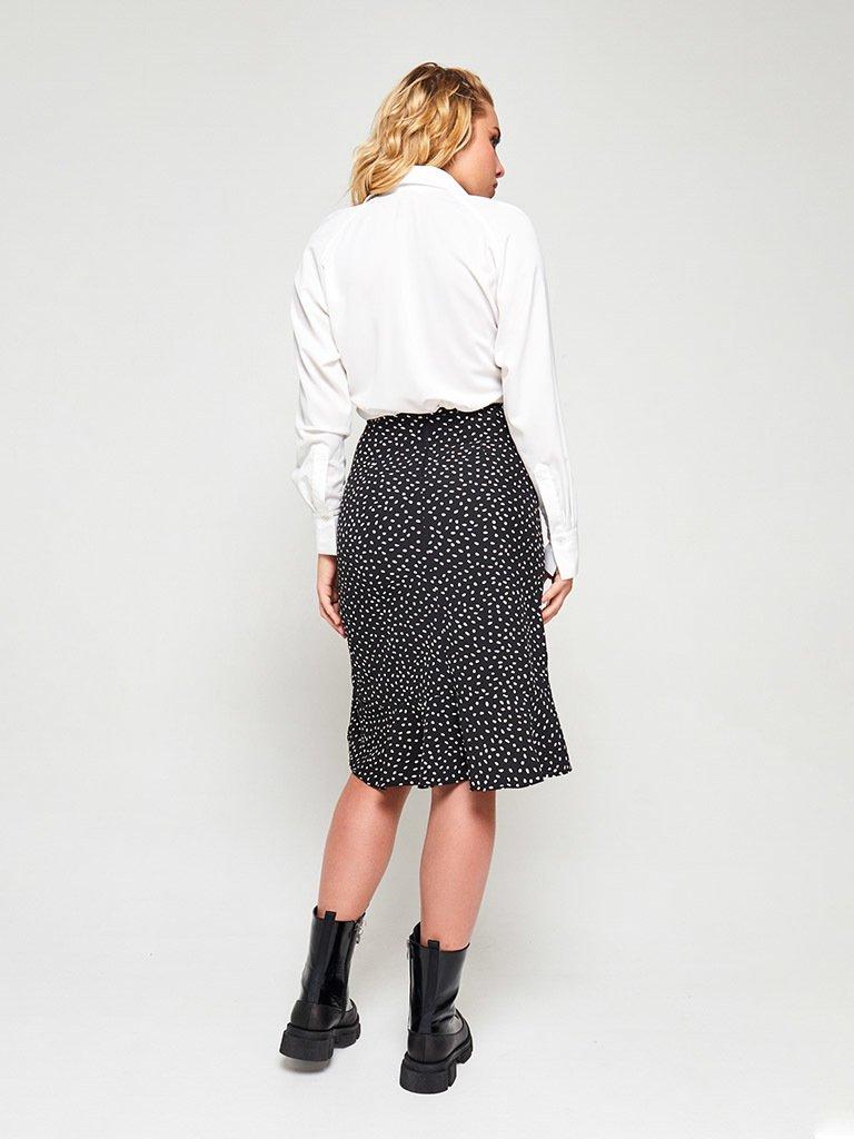 Spódnica midi czarna w białe grochy z falbanami Love&Live (zdjęcie 7)
