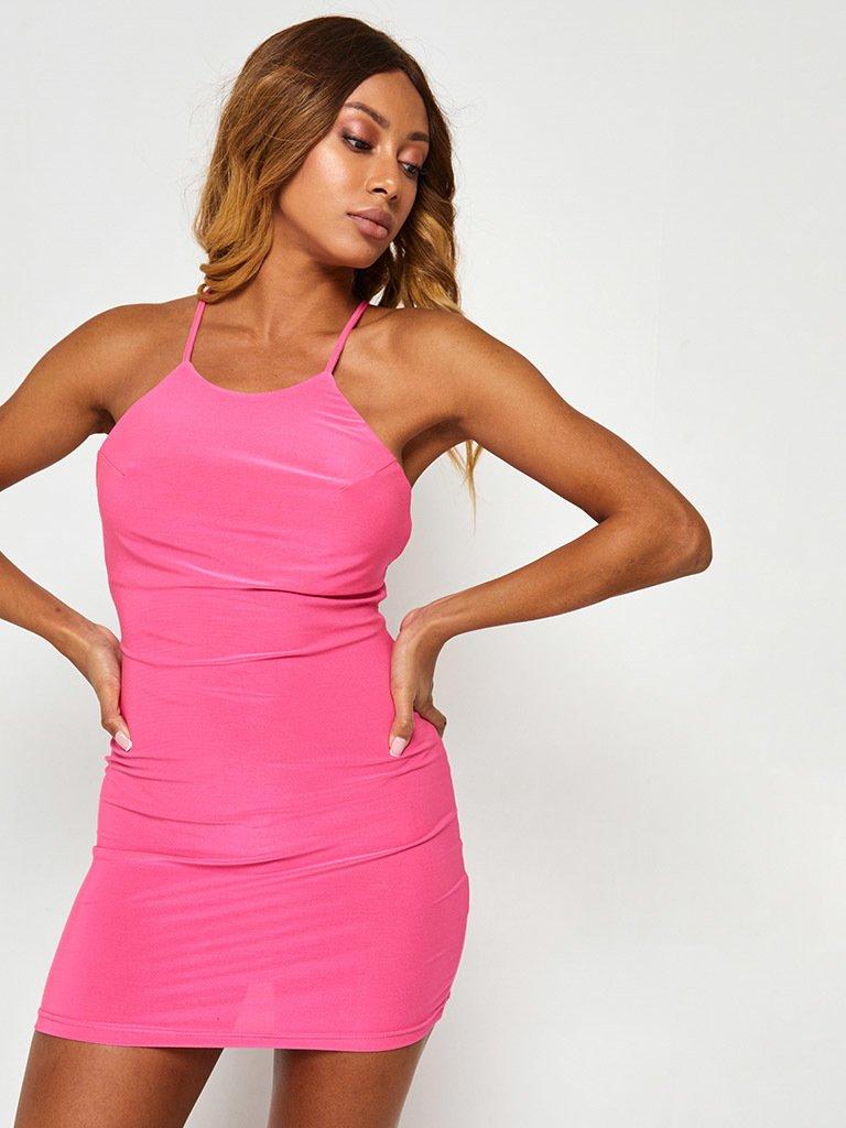 Sukienka mini neonowa różowa z odkrytymi plecami Katarina Ivanenko (zdjęcie 4)