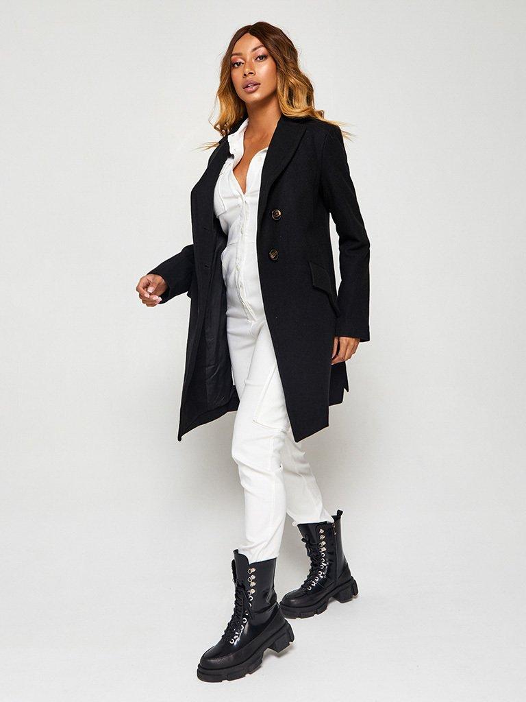 Płaszcz w kolorze czarnym o skróconym kroju Katarina Ivanenko