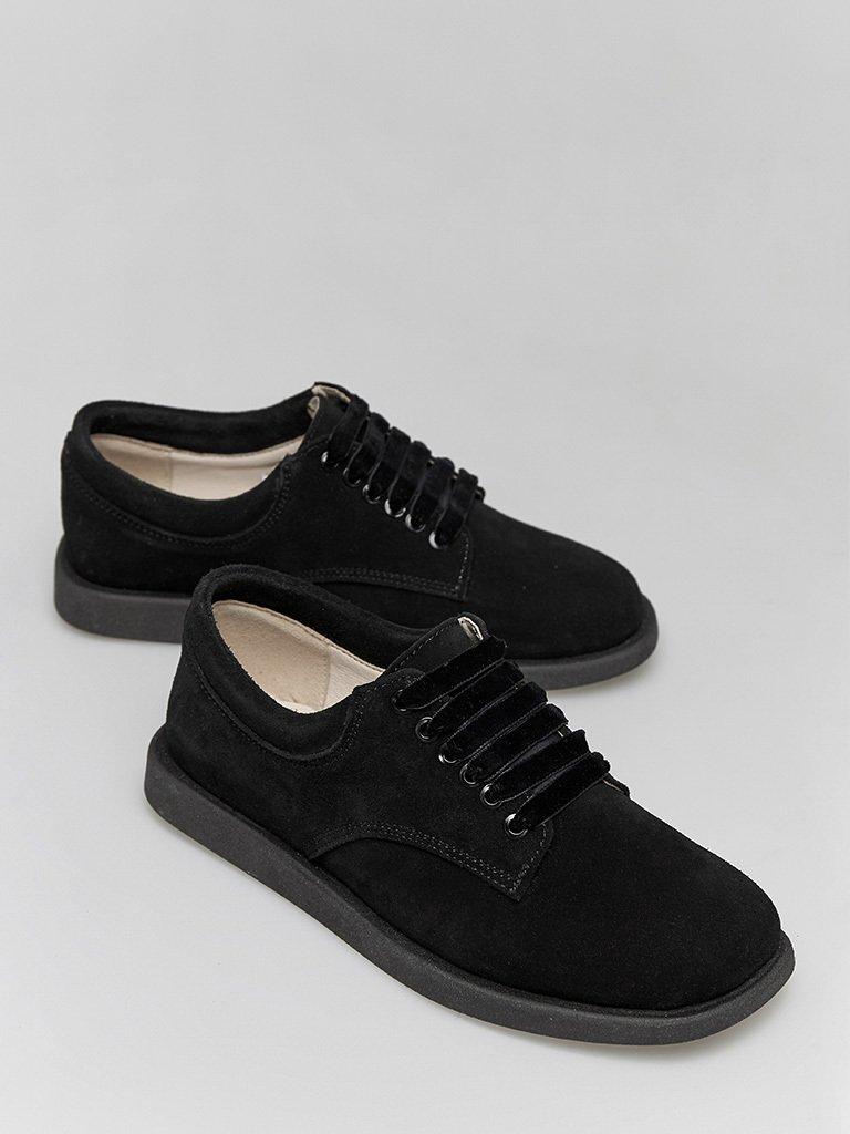 Zamszowe buty w kolorze czarnym na płaskiej podeszwie Love&Live (zdjęcie 2)