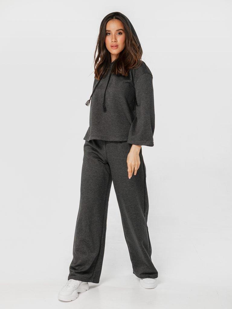 Ciemnoszary zestaw z krótką bluzą i spodniami z szerokimi nogawkami Love&Live (zdjęcie 2)