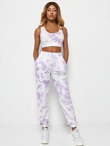 Spodnie joggery fioletowe z nadrukiem tie-dye Katarina Ivanenko