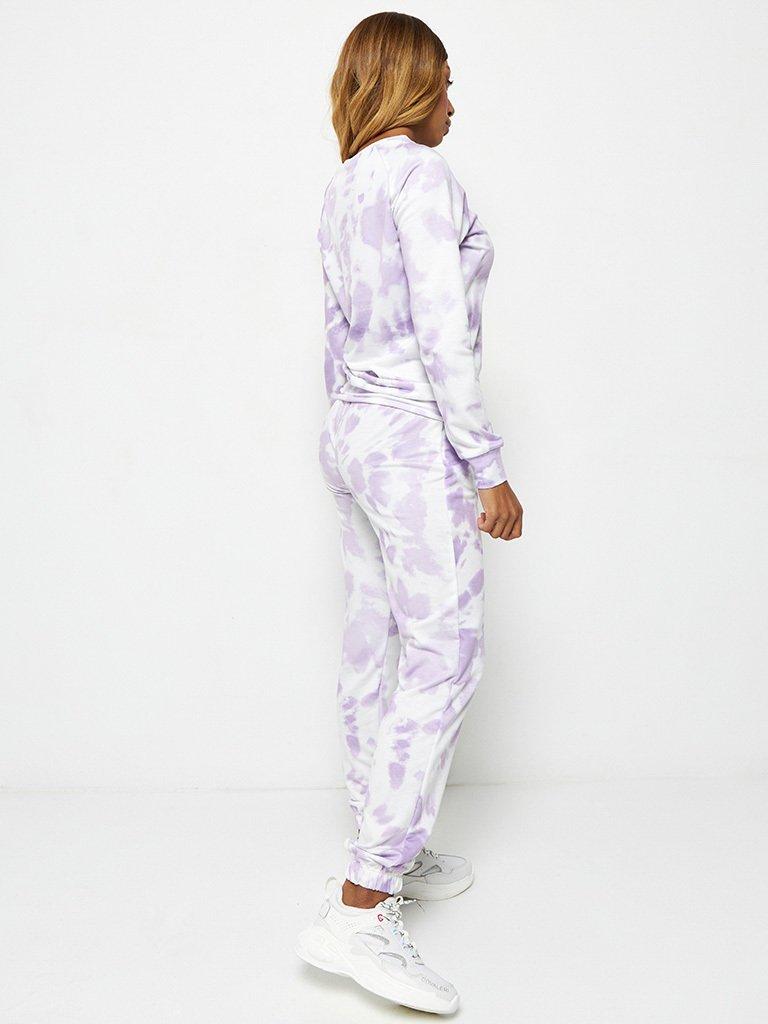Fioletowy zestaw dresowy z nadrukiem tie-dye (bluza, joggery) Katarina Ivanenko