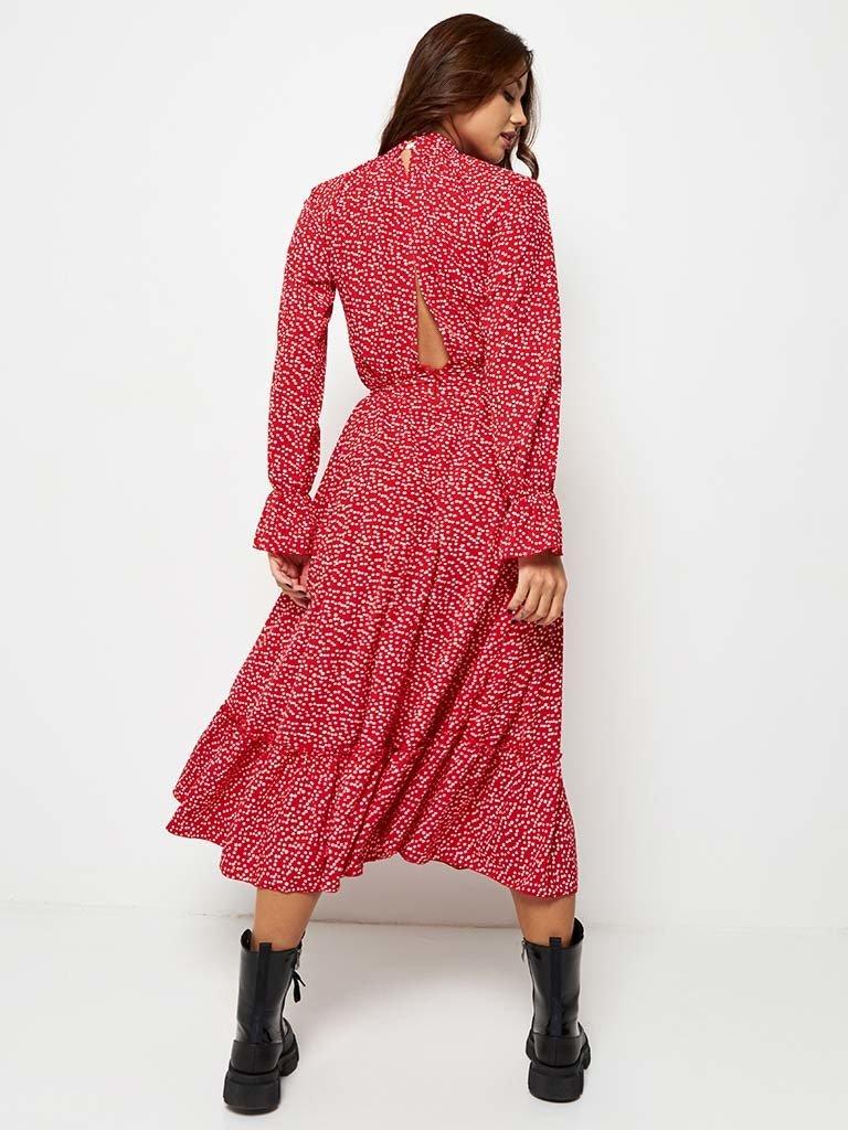 Czerwona sukienka midi w grochy z falbanką Love & Live