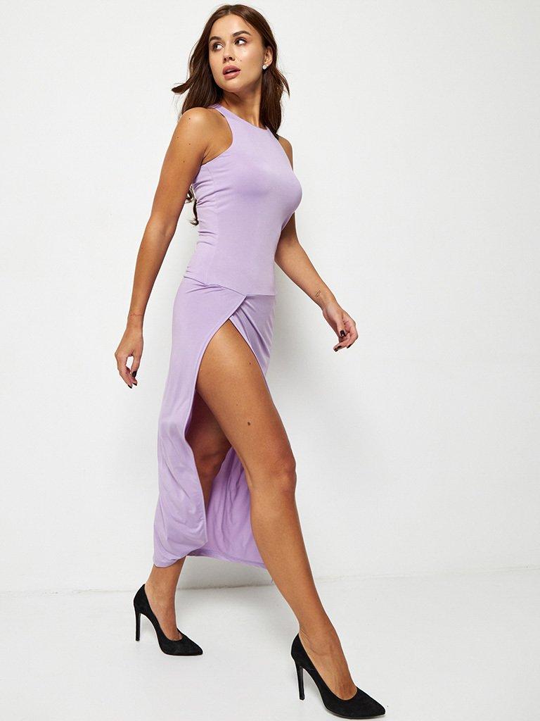Fioletowa dopasowana sukienka maxi Katarina Ivanenko (zdjęcie 2)